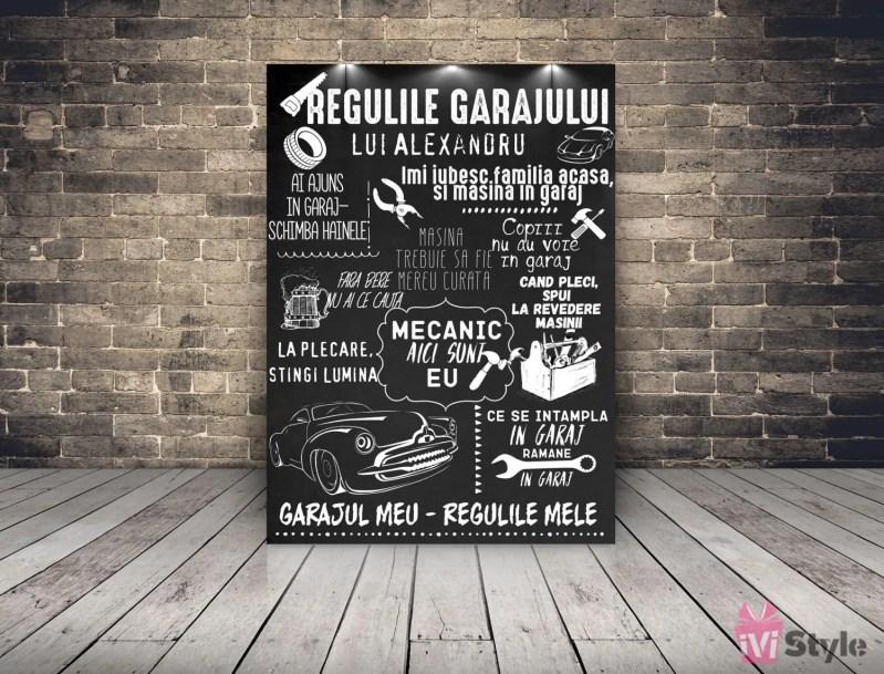 Tablou Placuta Personalizata Regulile Garajului 01