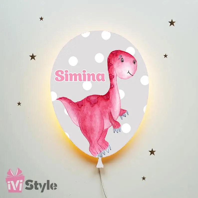 Lampa Personalizata LED Balon Dinozaur Rosu 01