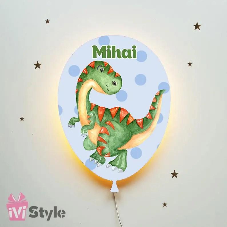Lampa Personalizata LED Balon Dinozaur Verde 01