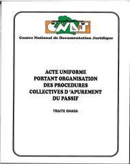 Acte Uniforme portant organisation des procédures d'apurement du passif