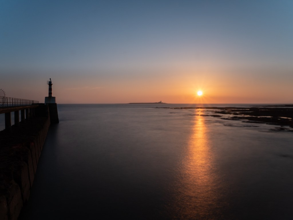 Sunrise over Coquet Island in Northumberland