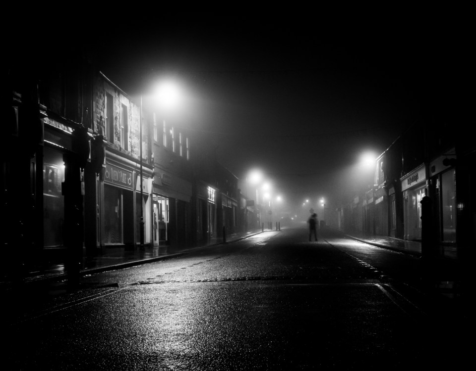 Night scene of a street in black and white