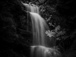 Refresher Vourse- waterfall in black and white