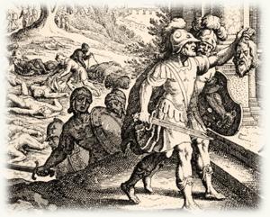 הפלשתים מביאים את ראש שאול