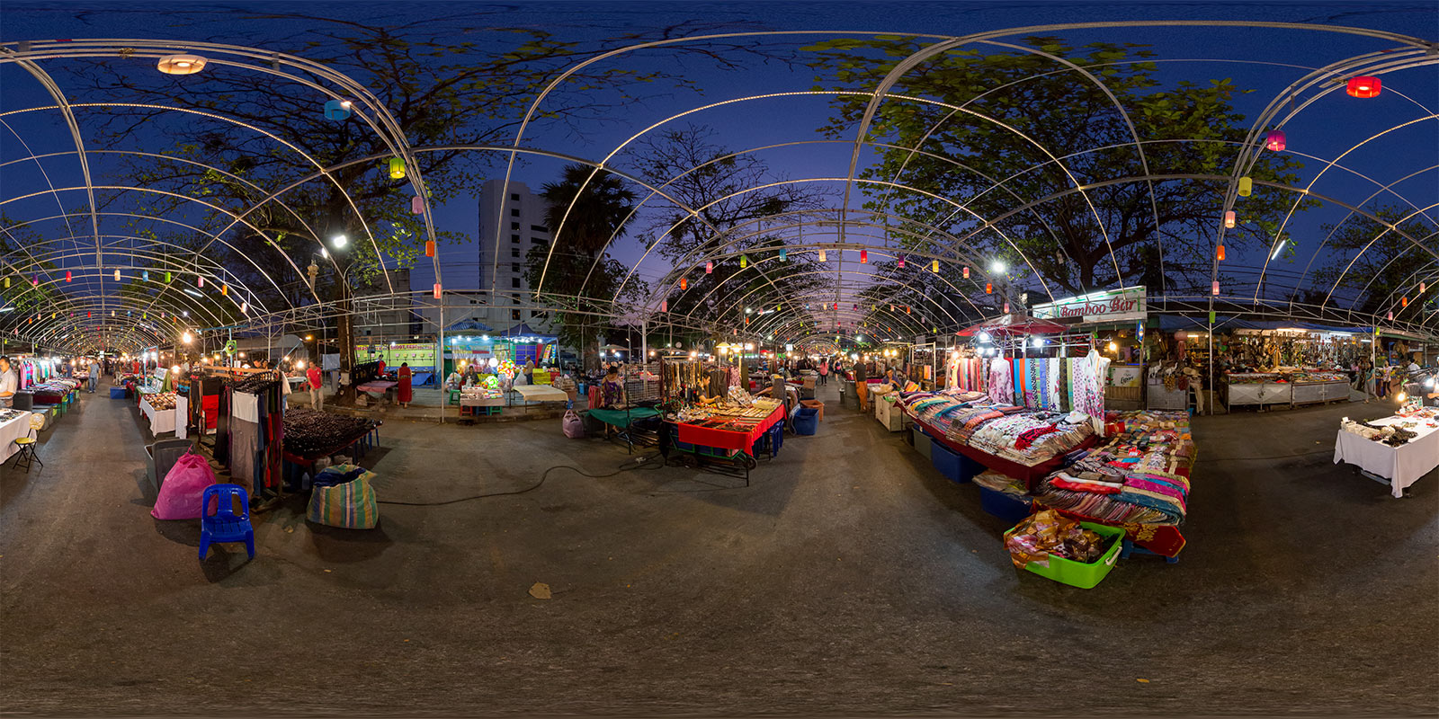 Anusan Night Market in Chiang Mai, Thailand. Panoramic photo by Jim Newberry.