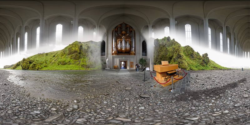 Hallgrímskirkja Pipe Organ/Skógafoss Waterfall, Iceland.