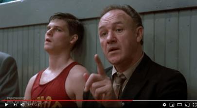 "Screenshot of scene from ""Hoosiers"" to illustrate UND hockey post"
