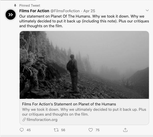 """Screen shot of @FilmsForAction Twitter post re: """"Planet of the Humans,"""" a climate crisis documentary"""