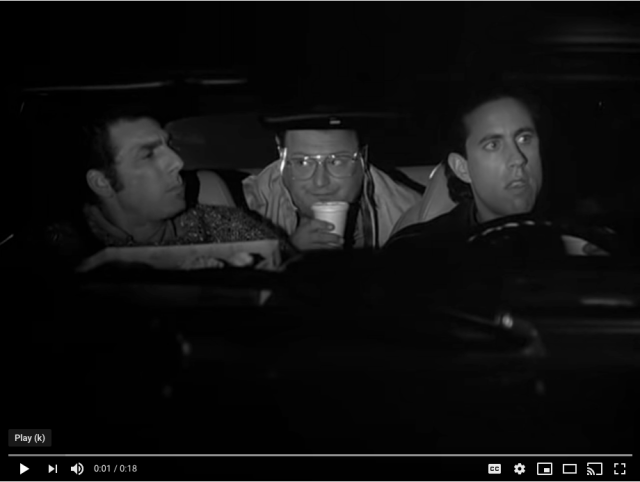 "Screenshot of ""Tuesday Feel"" Seinfeld clip"