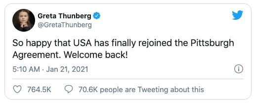 Greta Thunberg Twitter post on USA's return to Paris Accord