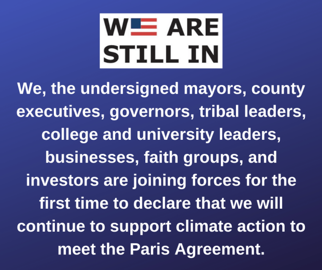 Graphic of We Are Still In climate pledge