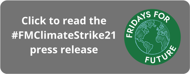 Graphic asking people to read #FMClimateStrike21 press release
