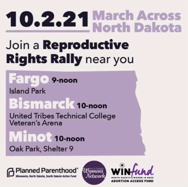 Graphic with info. re: reproductive rights rallies in N.D.