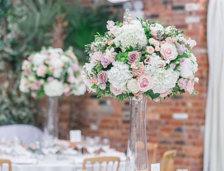 Northbrook Park wedding breakfast centrepieces