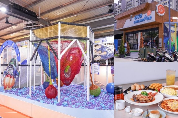 咱們小時ㄏㄡˋ  台中超人氣親子餐廳,雨天景點加上寬敞室內樂園、球池、滑梯、攀爬網,孩子玩到嗨!