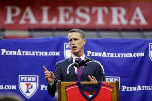 Steve Donahue rocks the red and blue tie at his introductory presser Tuesday. (timesunion.com)