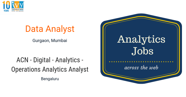 Fresher Jobs, Tableau,SQL,Data Analyst,Ivy Pro School, Data Science Institute,India, Analytics jobs
