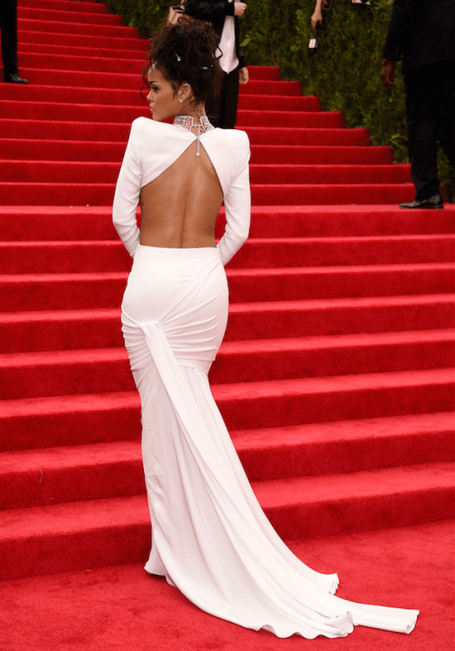 rihanna met back dress