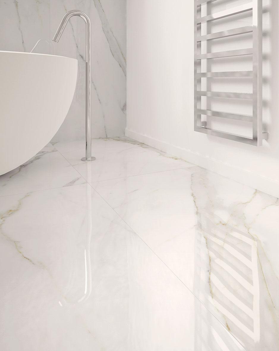 calacatta gold marble effect polished porcelain tile 60 x 120 cm