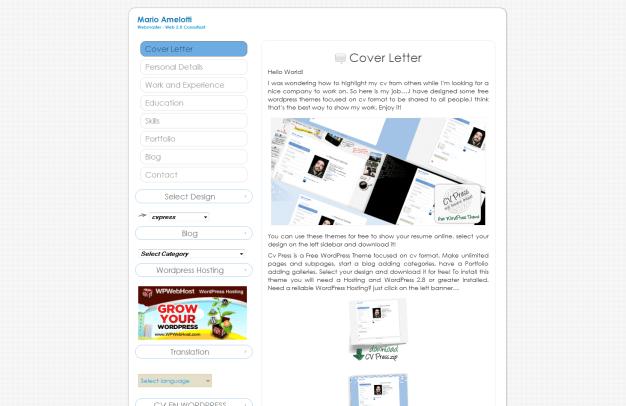 Plantilla Web WordPress Gratis Curriculum Papel
