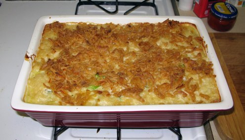 Finished Cheesy Broccoli Rice Casserole