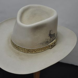 Silverbelly sporting hat with animal print hatband and animal illustration