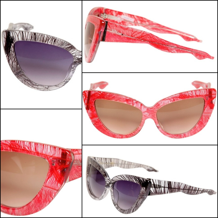 Feather Cat Eye Sunglasses by Charlotte Olympia x Linda Farrow