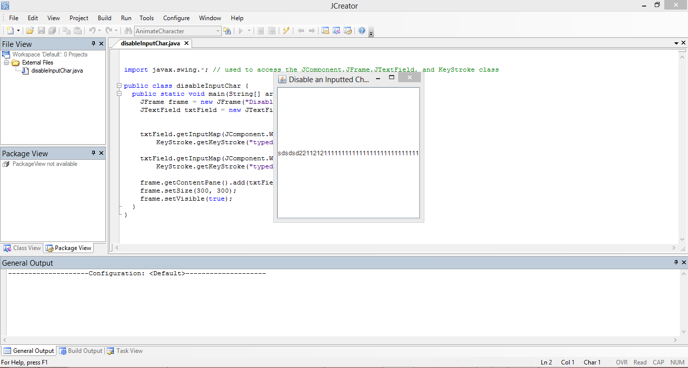 Disable Input Character Java Source Code