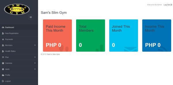 Gym Management System PHP MySQL Source Code Dashboard