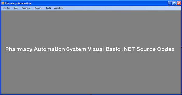 Pharmacy Automation System Visual Basic .NET Source Codes