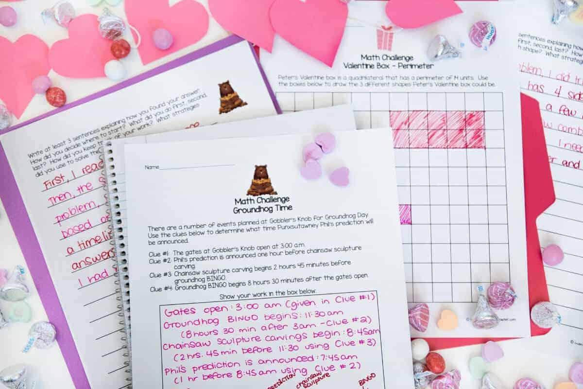 Valentines Day Math Printables 2nd 3rd Grade