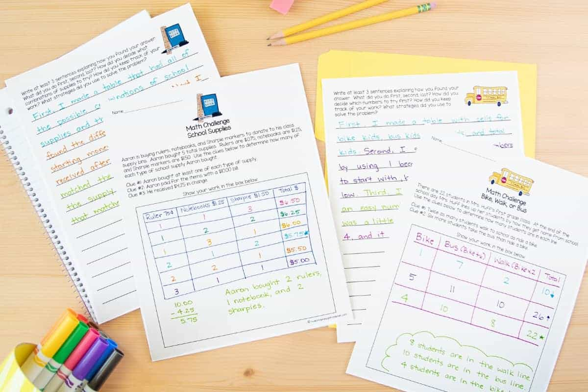 Back To School Math Worksheets 2nd 3rd Grade 7