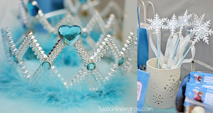 Elsa crown and snowflake wands DIY party favors for Frozen birthday party