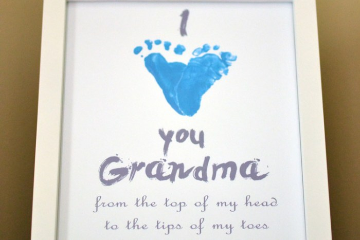 How to make this adorable I heart you footprint keepsake for Grandma or anyone, and how to reuse footprints for many craft projects!