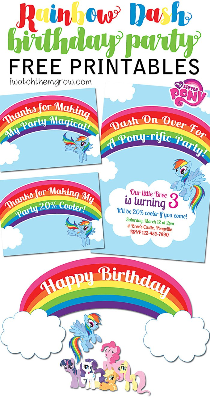 Free mlp rainbow dash birthday party printables for Rainbow dash cake template