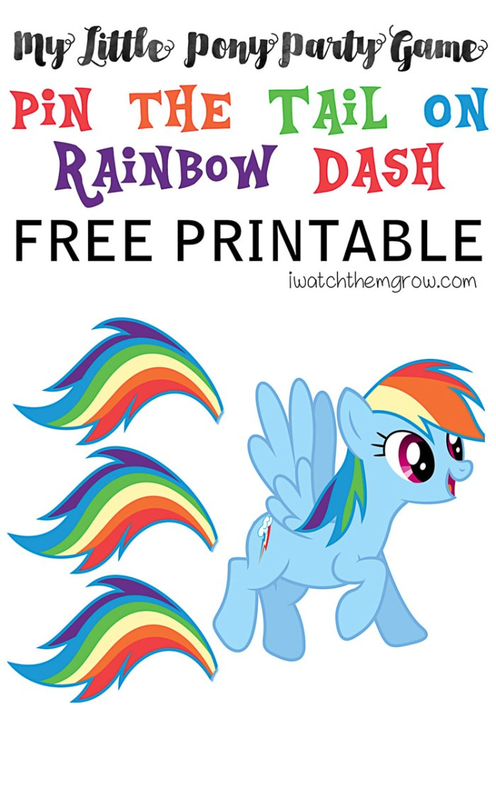 Free printable pin the tail on Rainbow Dash game! Perfect for a My Little Pony party!