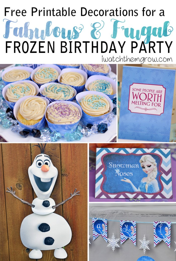 Free printables decorations for your frugal DIY Frozen Birthday party