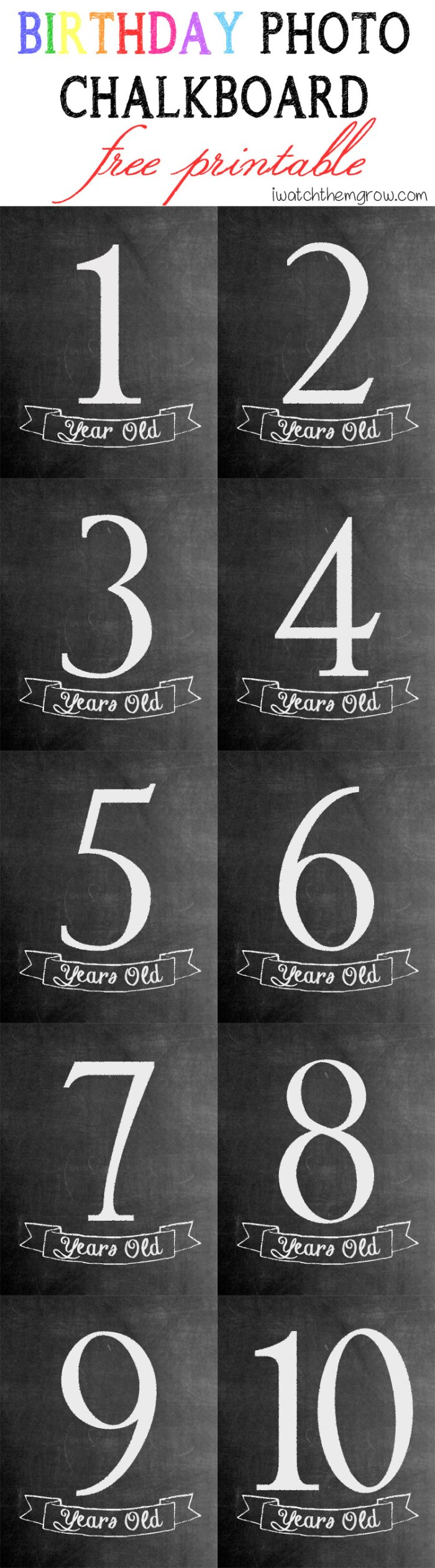 Birthday photo chalkboard free printable for ages 1-10!