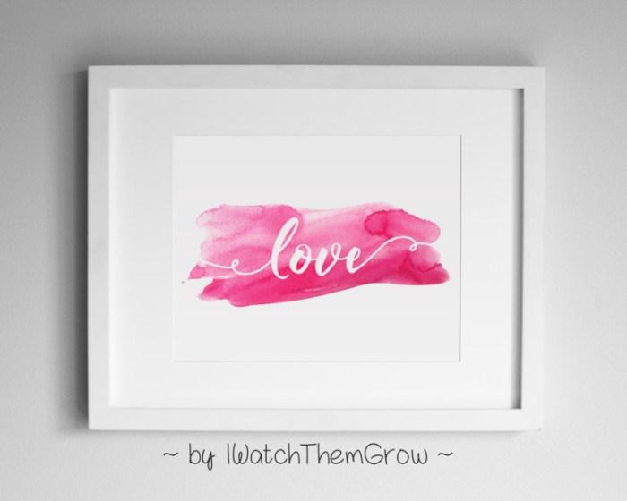 """love"" pink watercolor Valentine's art printable, perfect for Valentine's decor!"