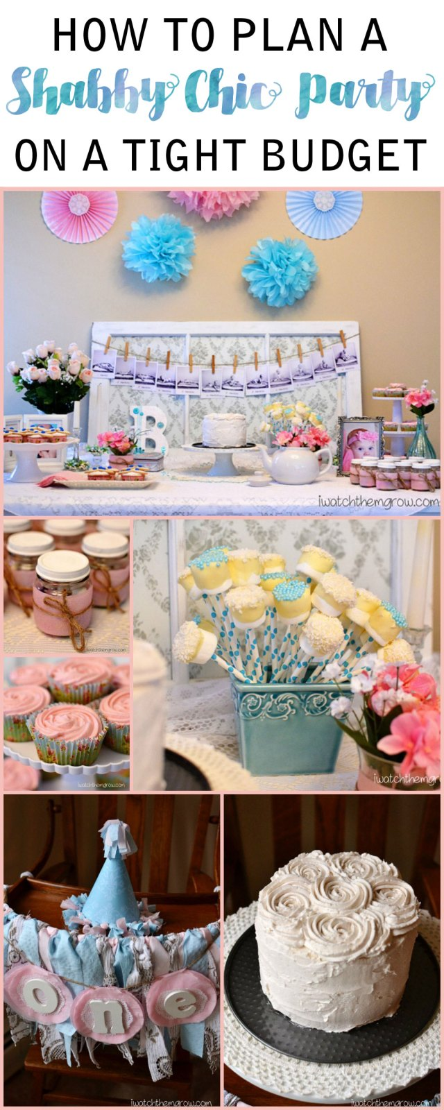Great ideas and tips for a shabby chic party on a tight budget!
