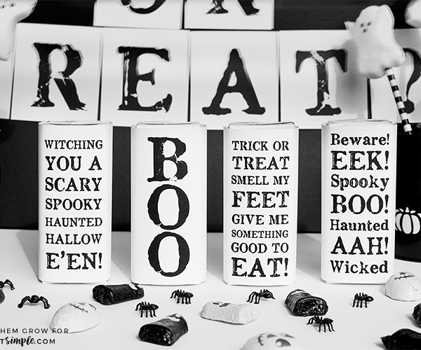 Free printable Halloween juice box covers - black and white Halloween party ideas