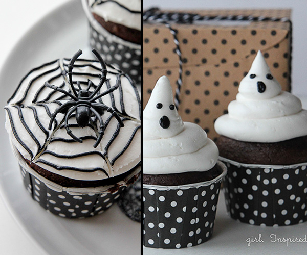 Spiderweb and ghost cupcakes - black and white Halloween party ideas