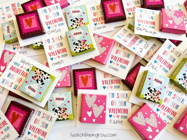 """""""I'm stuck on you Valentine"""" free printable sticker Valentine's cards - so cute! Perfect for that affordable non-candy Valentine that kids will love!"""