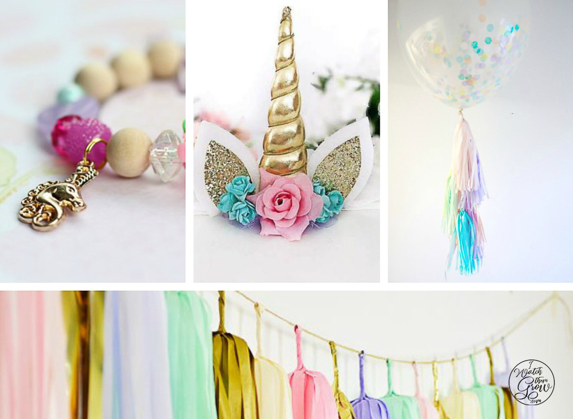All of these unicorn party decorations, favors and gifts are so beautiful!