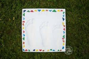 A kid's footprint stepping stone is a cool gift idea for Father's Day or Mother's Day!