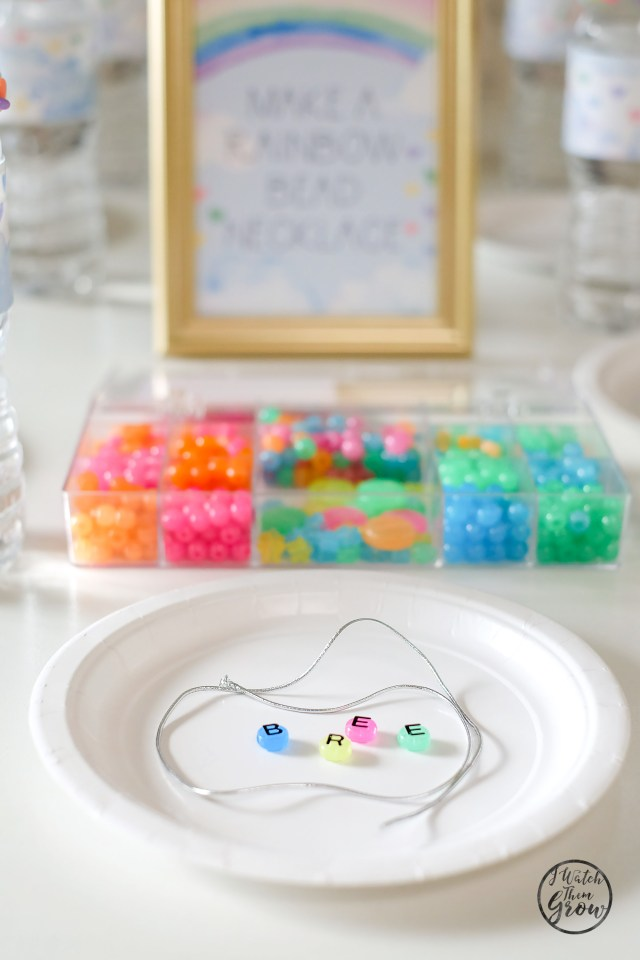 Rainbow party activity ideas - making rainbow bead necklaces