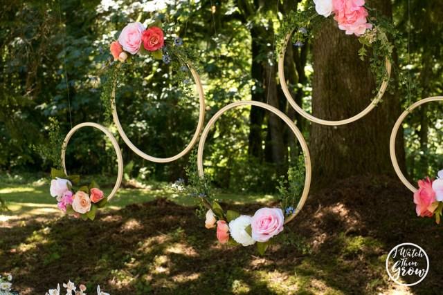DIY floral hoop backdrop for a fairy tea party!