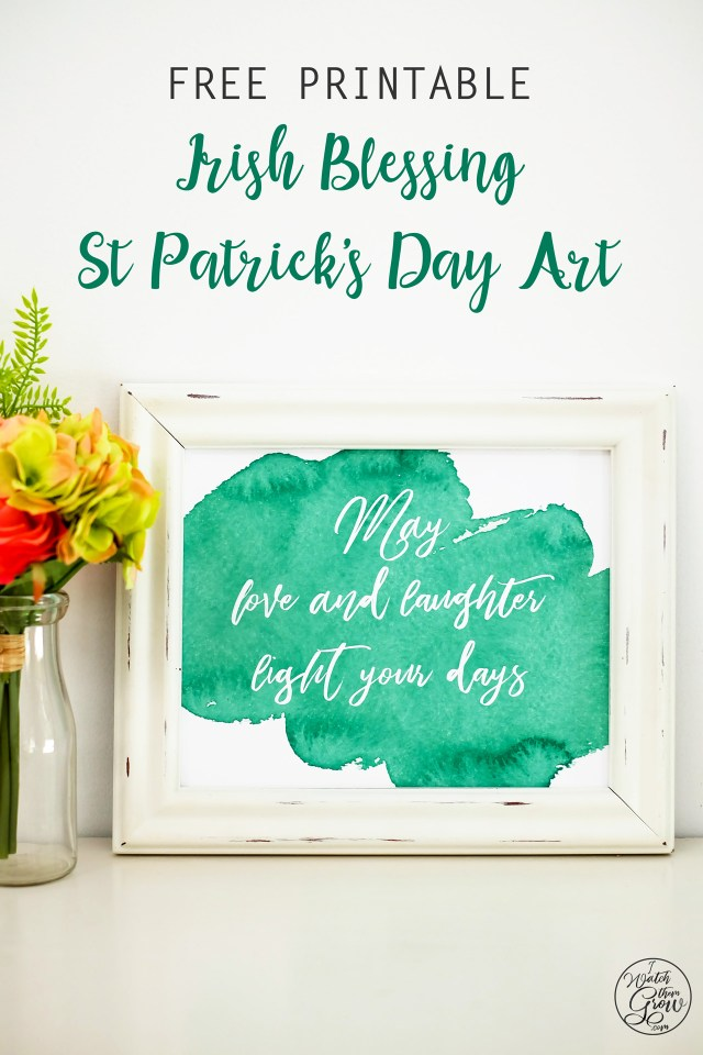 This is such a beautiful green watercolor Irish blessing! It's a free St Patrick's Day printable that you could actually keep all year long!
