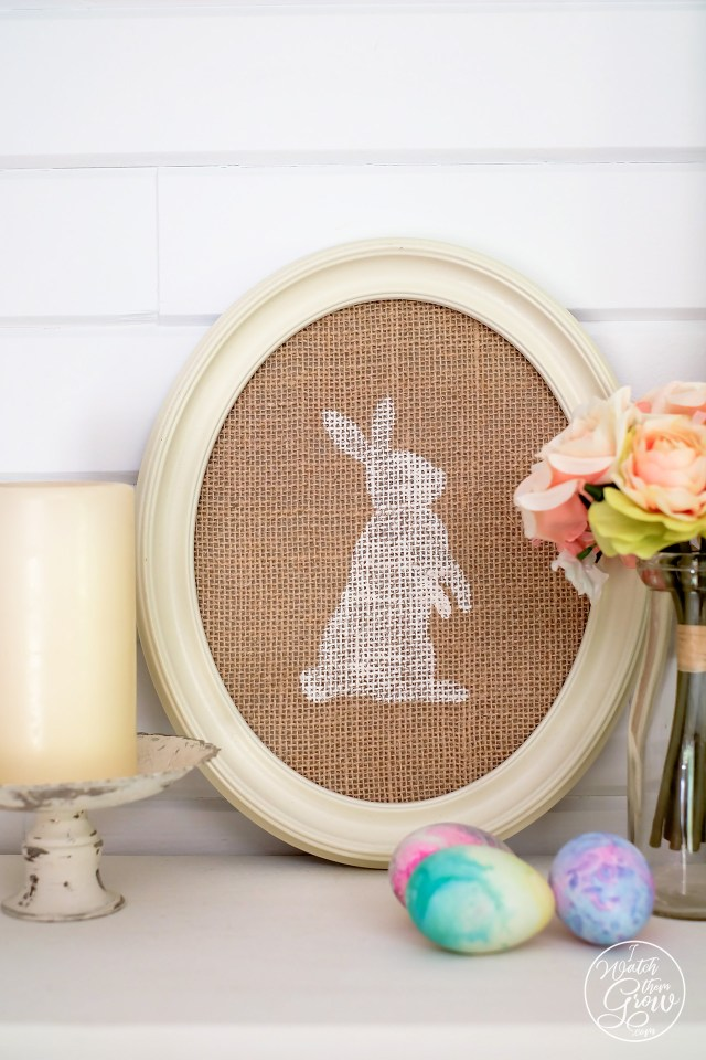 Easter mantle decor with framed burlap bunny decor and watercolor Easter eggs