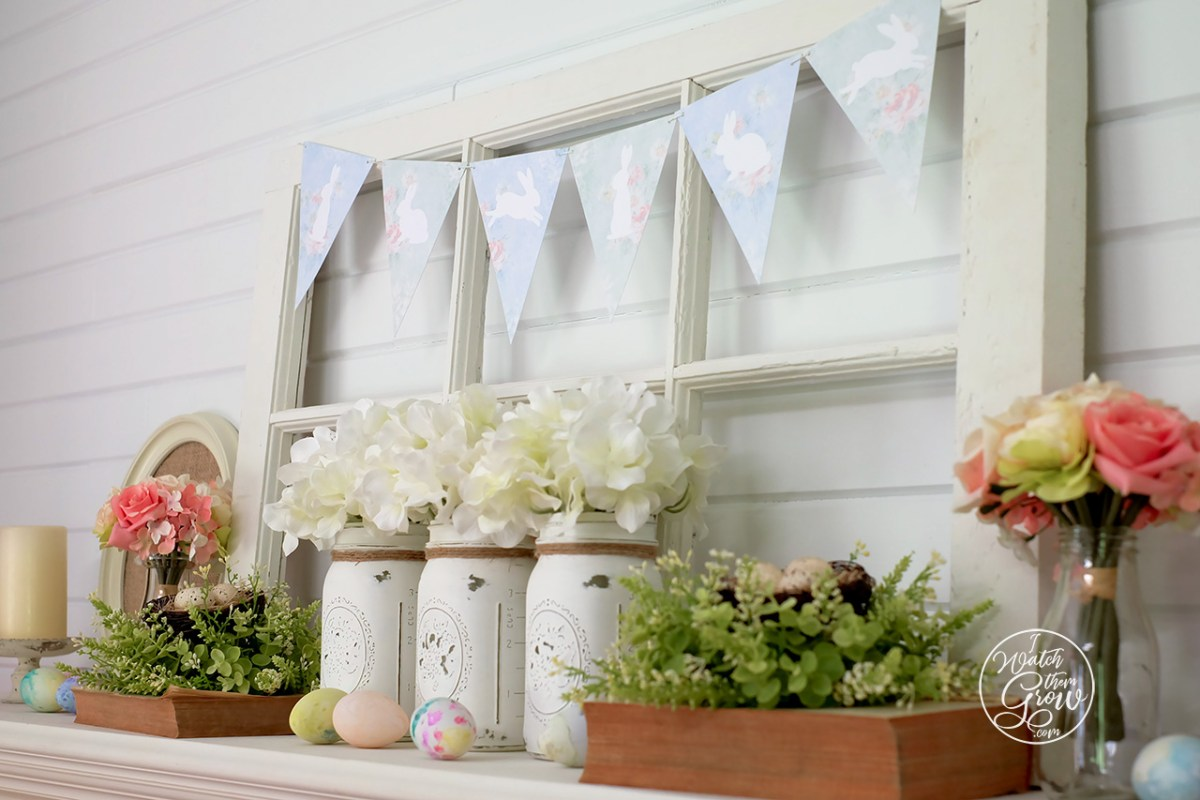 Easter Mantle and Printable Bunny Bunting